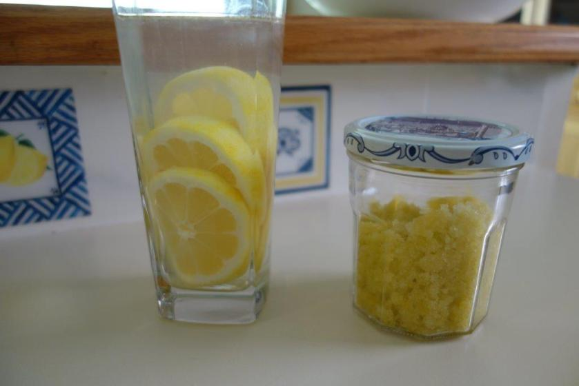 lemon-lime scrub and lemon water