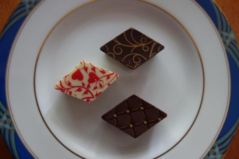 Clockwise from top:  Jean Luc (as in Picard from Star Trek - Earl Grey Tea flavour), Winston (scotch), and White Chocolate Strawberry