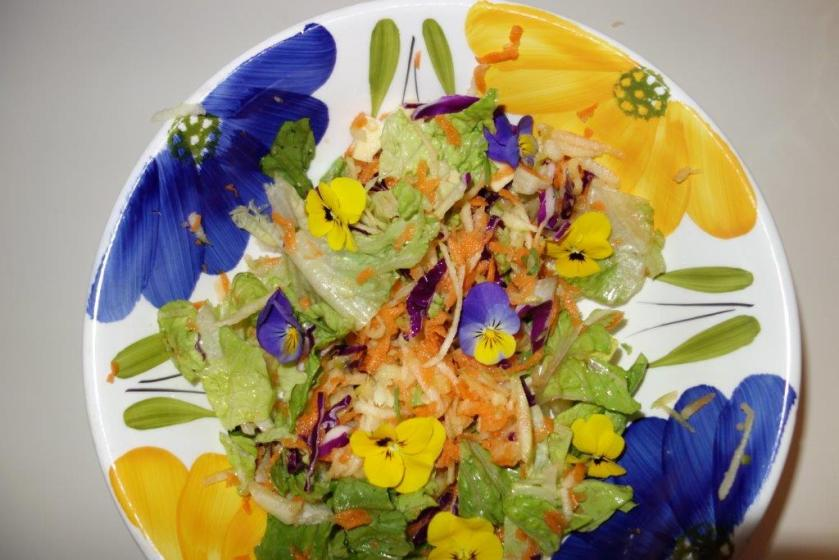 Lettuce, apple, carrot, and pansy salad, with a peach vinegar and avocado oil dressing