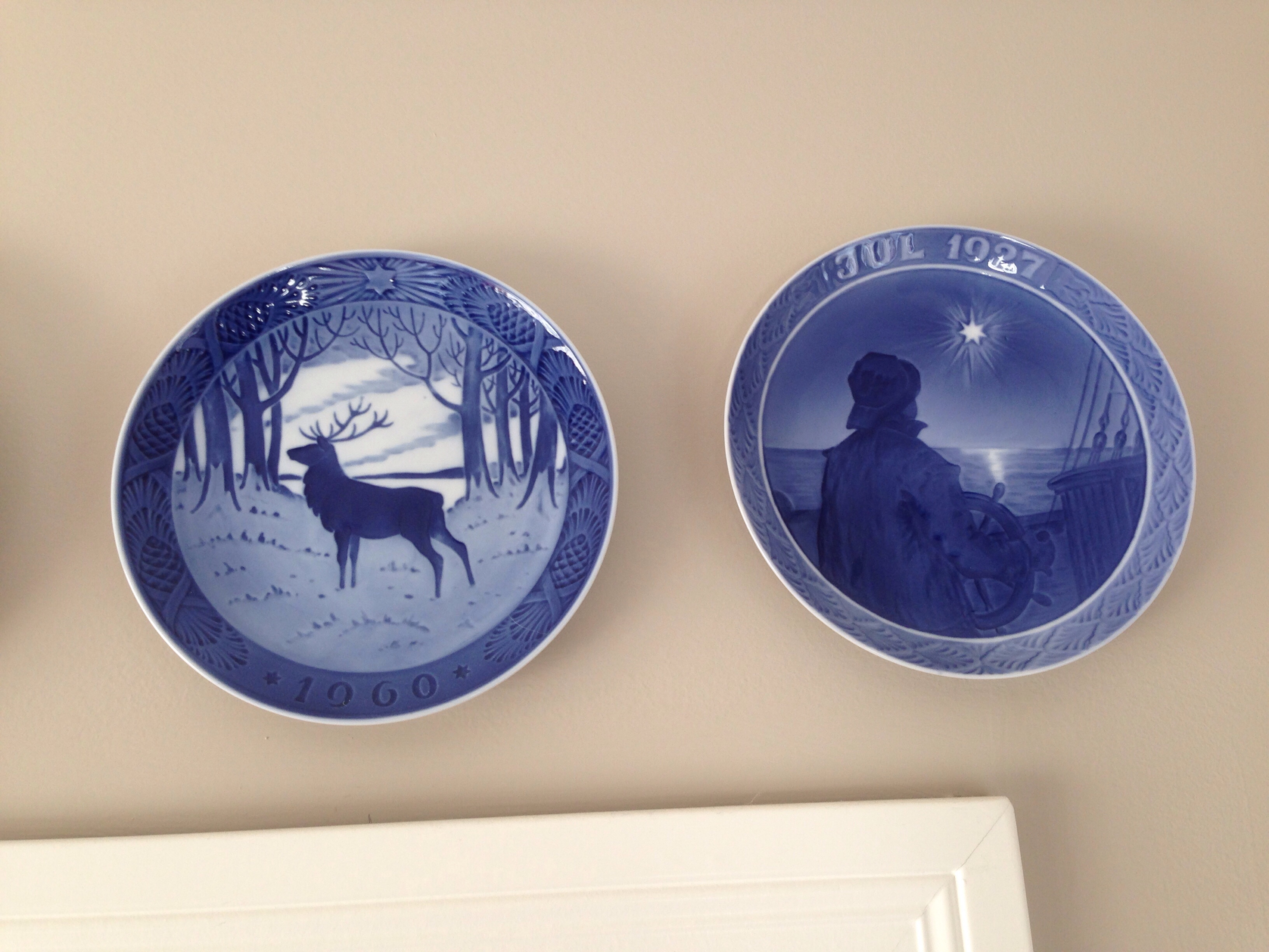 my husband and i both grew up seeing christmas plates like these in the houses of our grandparents they are a little old fashioned but we enjoy the way - Royal Copenhagen Christmas Plates