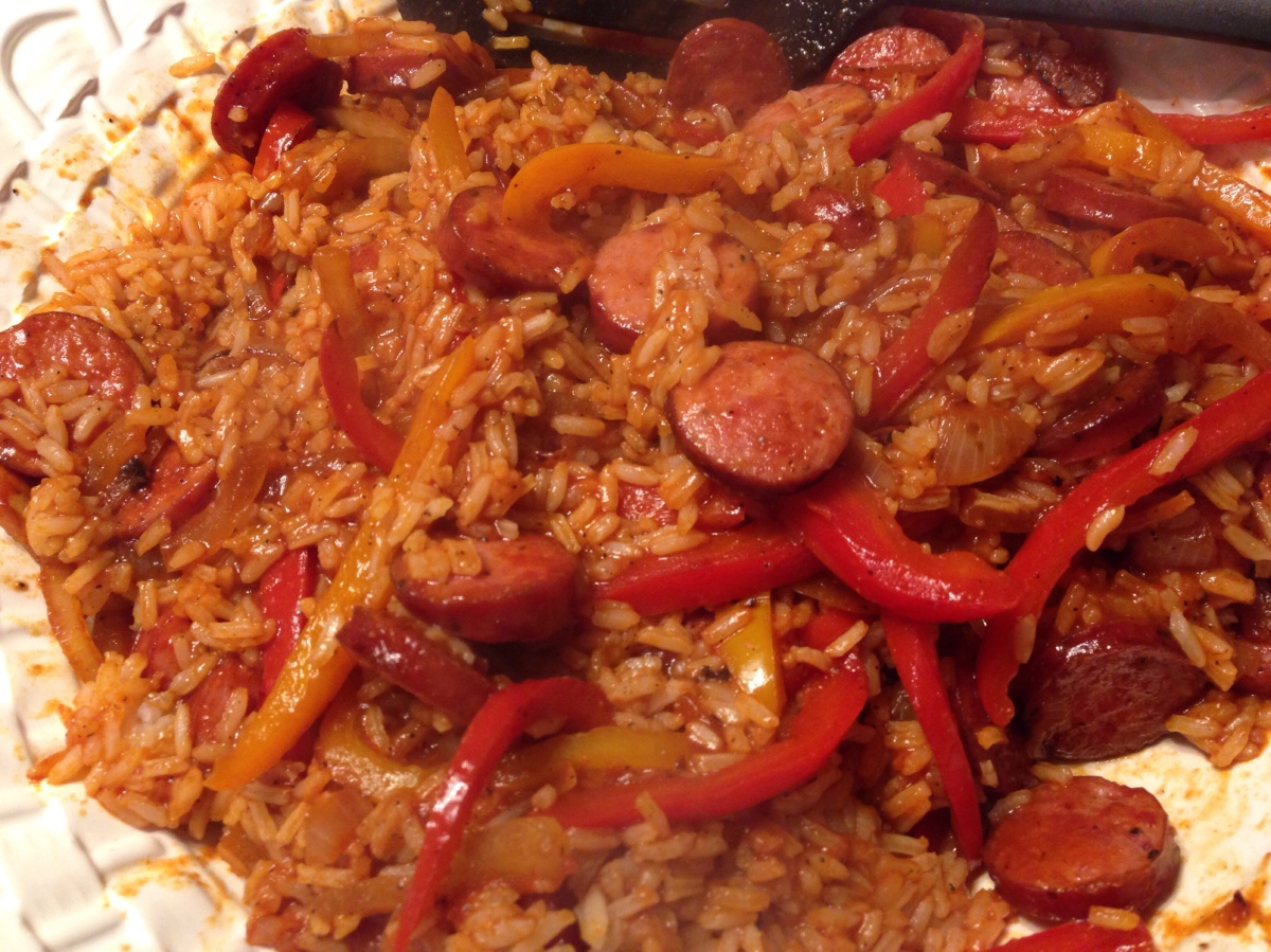 Paprika Pepper and Sausage over Rice