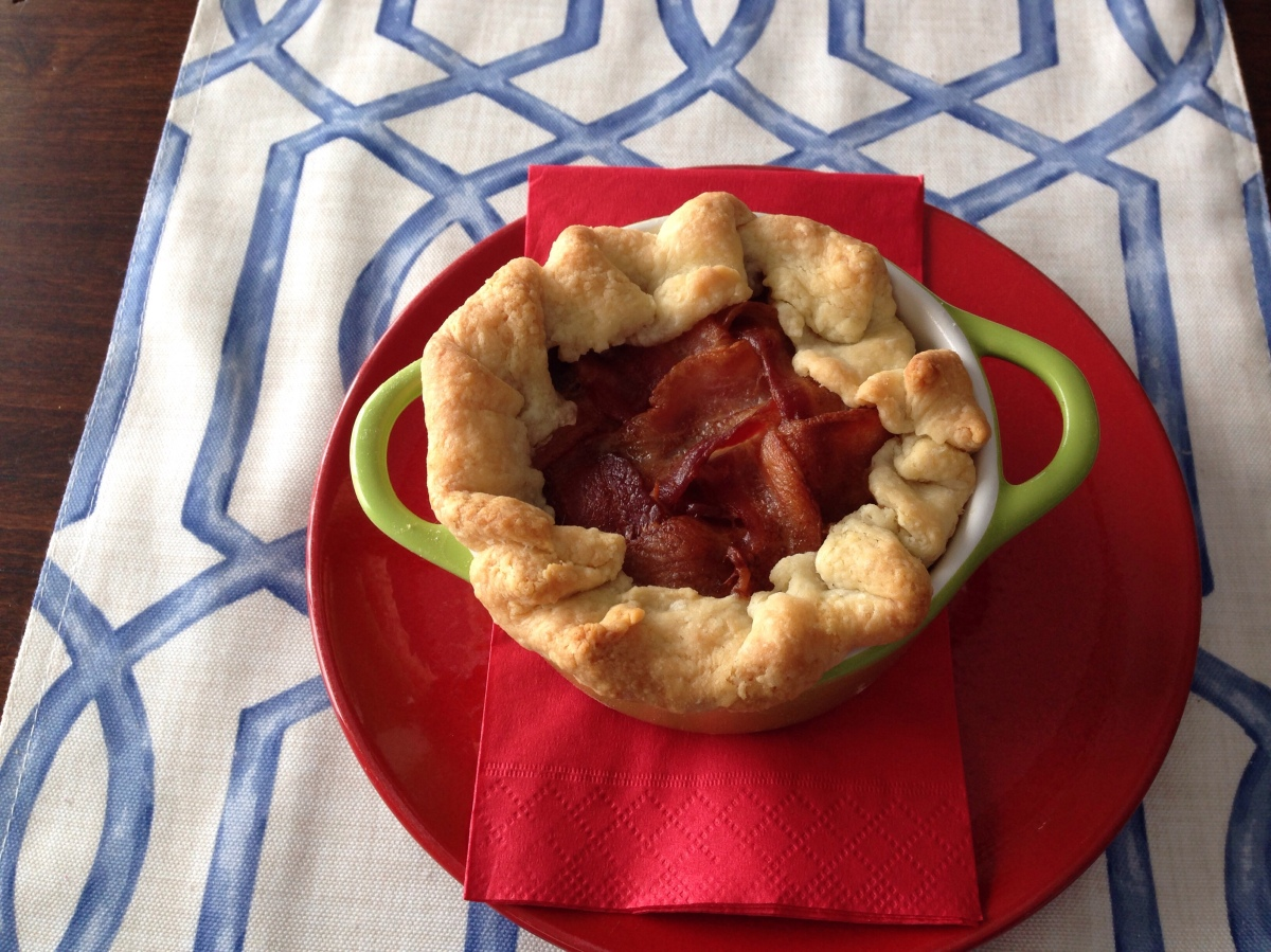 Beef and Vegetable Pie with Bacon Topper